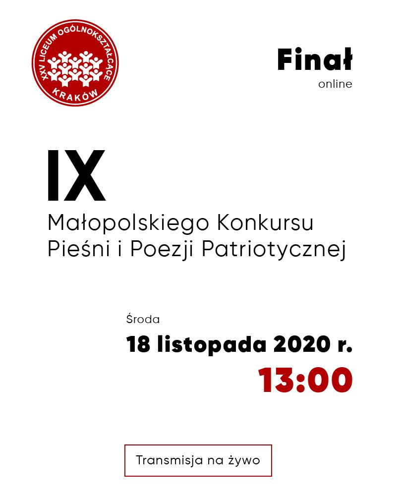 Finał IX Małopolskiego Konkursu Pieśni i Poezji Patriotycznej - plakat
