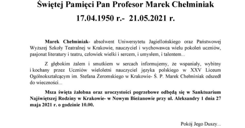 Świętej Pamięci Pan Profesor Marek Chełminiak