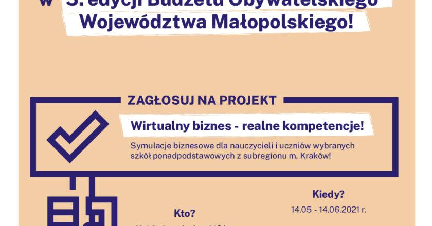 plakat reklamujący udział w 5. edycji Budżetu Obywateleskiego Województwa Małopolskiego