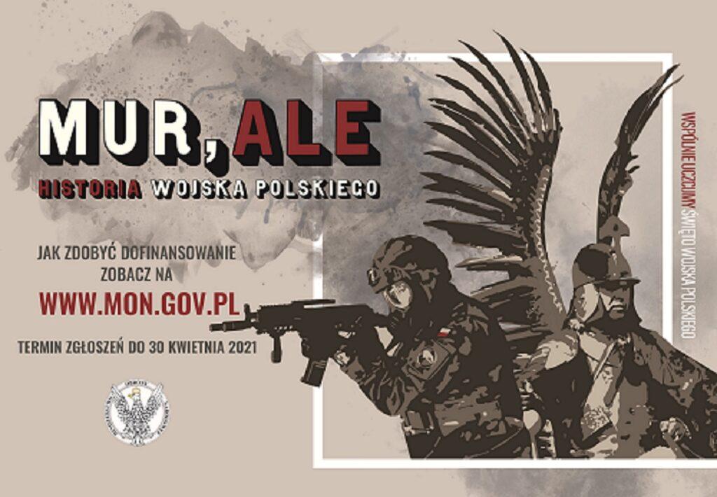 """plakat promujący KONKURS """"MUR,ALE HISTORIA WOJSKA POLSKIEGO"""""""
