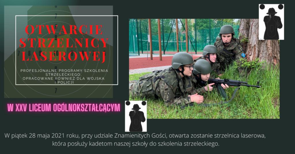 plakat promujący otwarcie strzelnicy laserowej